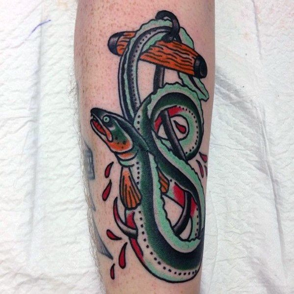 Awesome Ink Eel With Anchor Forearm Tattoos For Men