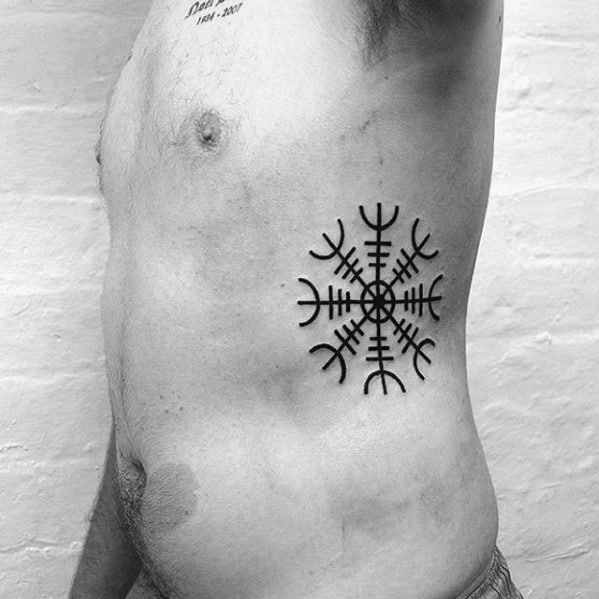 Awesome Ink Helm Of Awe Tattoos For Men On Rib Cage Side Of Body