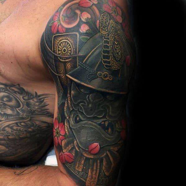 Awesome Ink Japanese Snake Tattoos For Men Half Sleeve With Samuari Mask Design