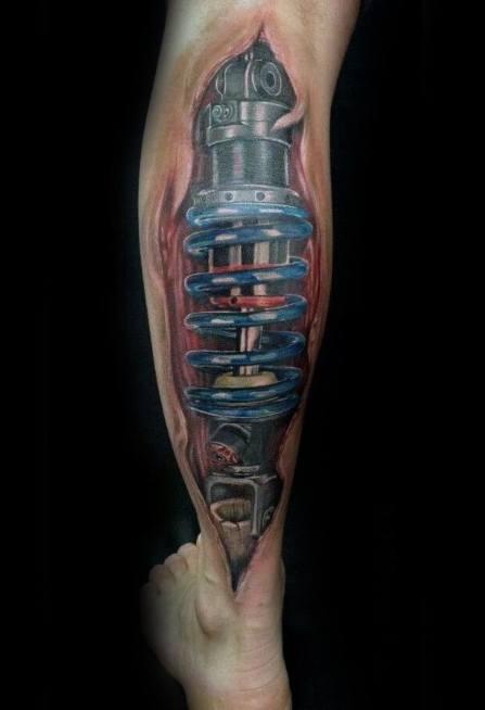 Awesome Ink Suspension Torn Skin 3d Back Of Leg Tattoos For Men
