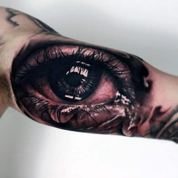Awesome Inner Arm Tearing Eye Mens Tattoos