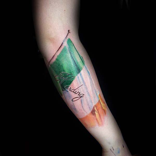 Awesome Irish Flag Guys Inner Forearm Tattoo Deisgn Inspiration