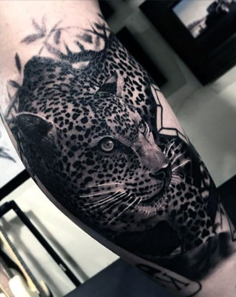 Awesome Jaguar Quarter Sleeve Animal Tattoos For Guys