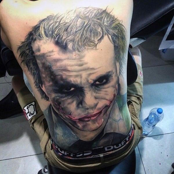 Awesome Joker Full Back Guys Tattoos