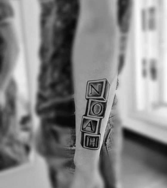 awesome kids name noah blocks mens outer forearm tattoo