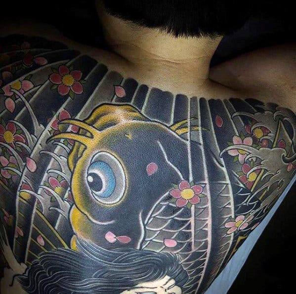 Awesome Koi Fish Japanese Wave Mens Full Back Tattoos