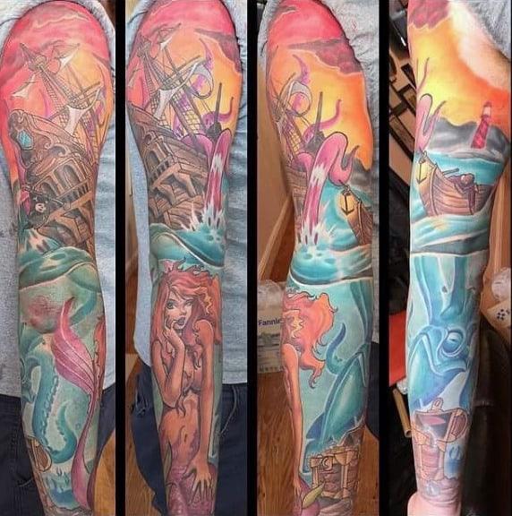 Awesome Kraken Mens Full Sleeve Tattoo Ideas