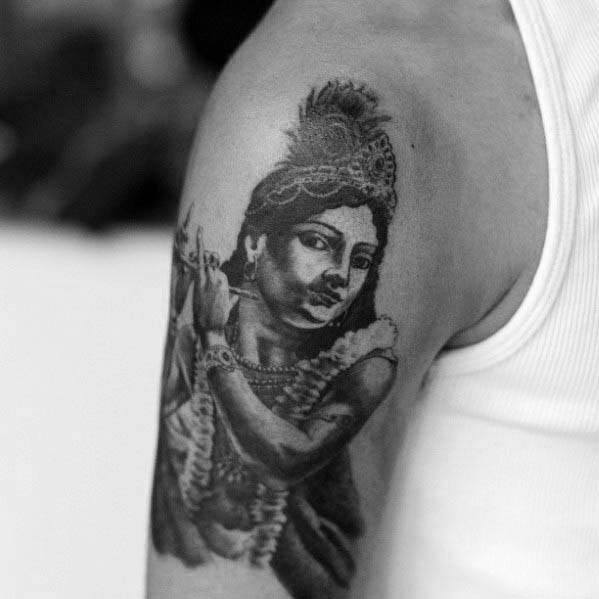 Awesome Krishna Tattoos For Men On Upper Arm