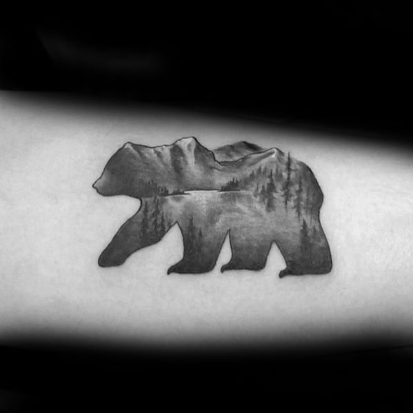 Awesome Lake Bear Inner Arm Bicep Tattoos For Men