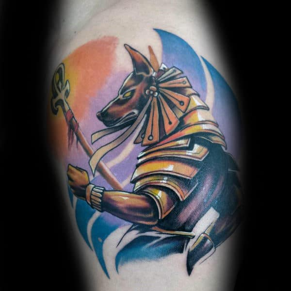 Awesome Leg Calf Anubis Tattoos For Males