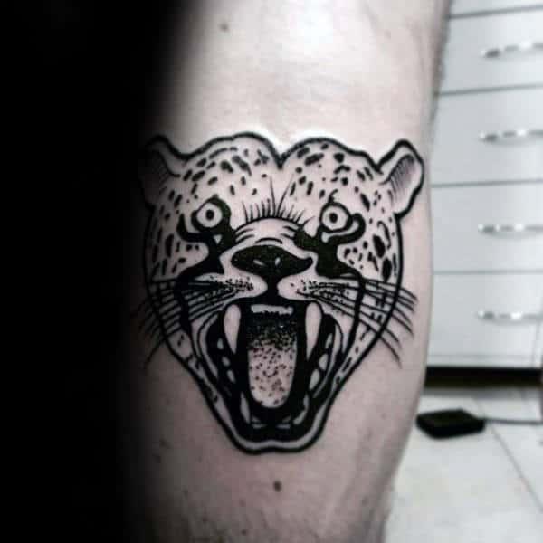 Awesome Leg Calf Black Ink Roaring Leopard Male Tattoos