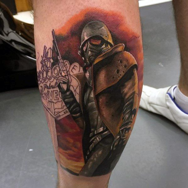 Awesome Leg Calf Fallout Tattoos For Men