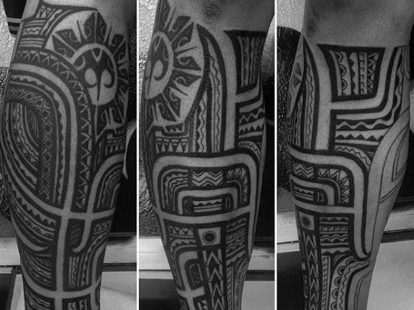 Awesome Leg Filipino Sun Tattoos For Men
