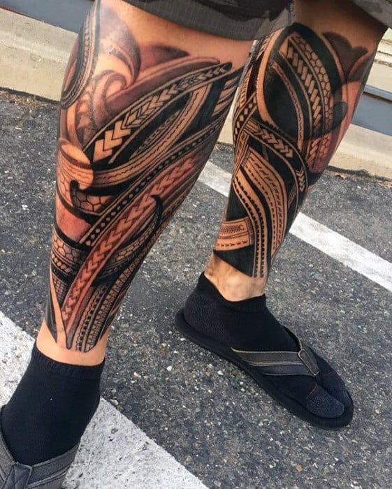 Awesome Leg Sleeve Polynesian Tribal Tattoos For Gentlemen