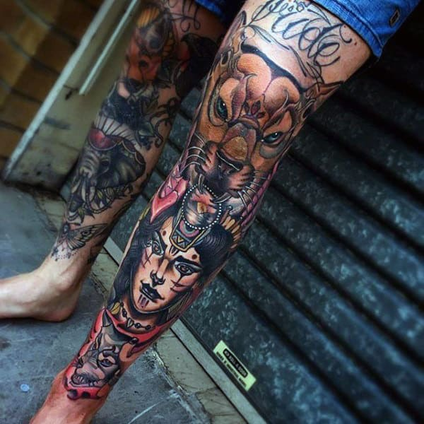 80 shin tattoos for men masculine lower leg design ideas for Thigh sleeve tattoo