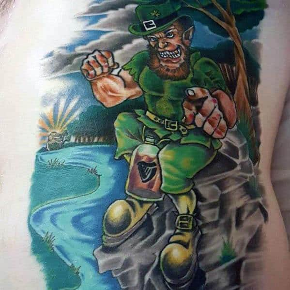 Awesome Leprechaun Tattoos For Men On Rib Cage Side Of Body
