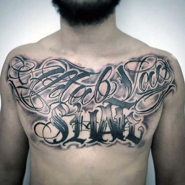 Awesome Lettering Tattoos For Guys On Chest