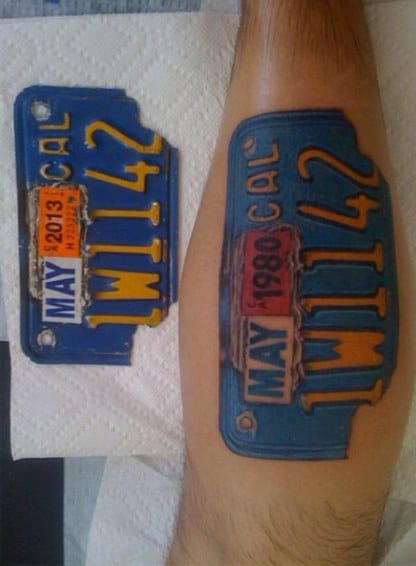 Awesome License Plate Biker Tattoos For Men On Leg