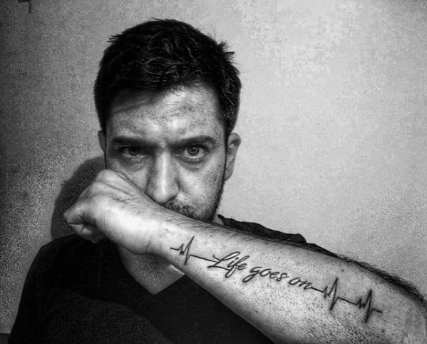 Awesome Life Goes On Tattoos For Men Outer Forearm