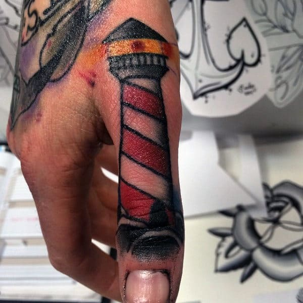 Awesome Lighthouse Thumb Tattoos For Guys