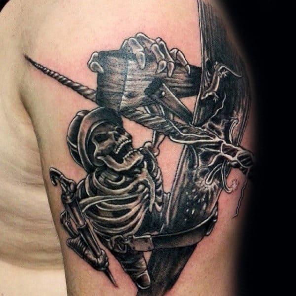 Awesome Lineman Skeleton Power Line Guys Upper Arm Tattos