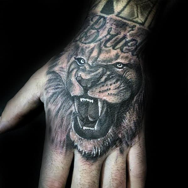 Awesome Lion Hand Tattoos For Men