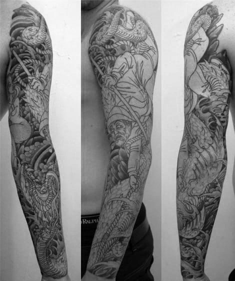 Awesome Loch Ness Monster Themed Full Arm Sleeve Tattoos For Men