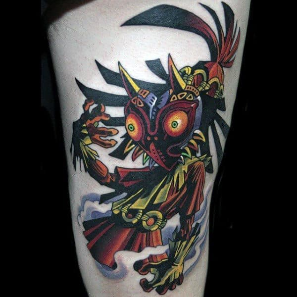 Awesome Majoras Mask Thigh Tattoo On Male