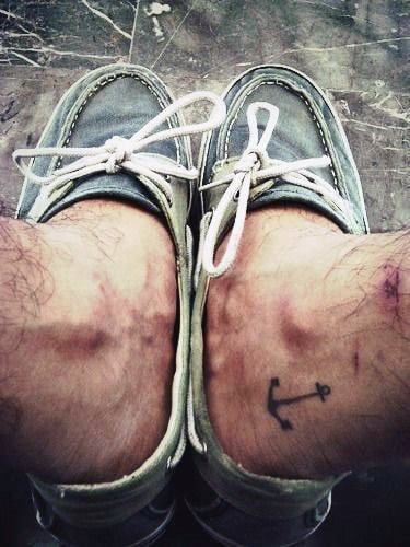 Awesome Male Ankle Small Anchor Simple Tattoos