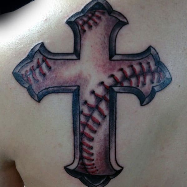 Awesome Male Baseball Cross Shoulder Tattoo Ideas