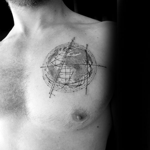 Awesome Male Chest Dotwork Tattoo