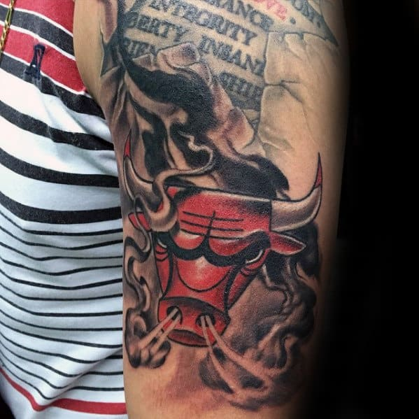 Awesome Male Chicago Bulls Arm Tattoo
