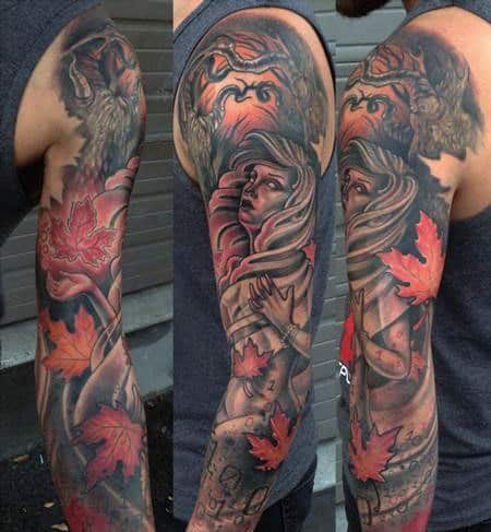 Awesome Male Fall Sleeve Tattoo Design Inspiration