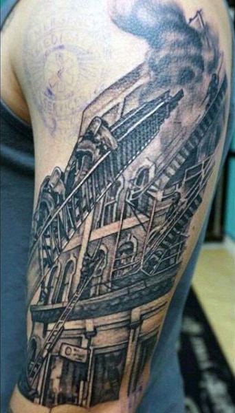 Awesome Male Firefighter Tattoos Half Sleeve Truck