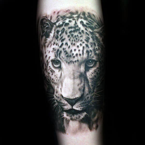 Awesome Male Forearm Sleeve Cheetah Head Tattoos