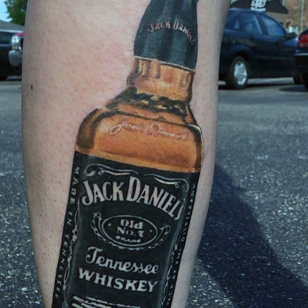 Awesome Male Jack Daniels Tattoo On Leg