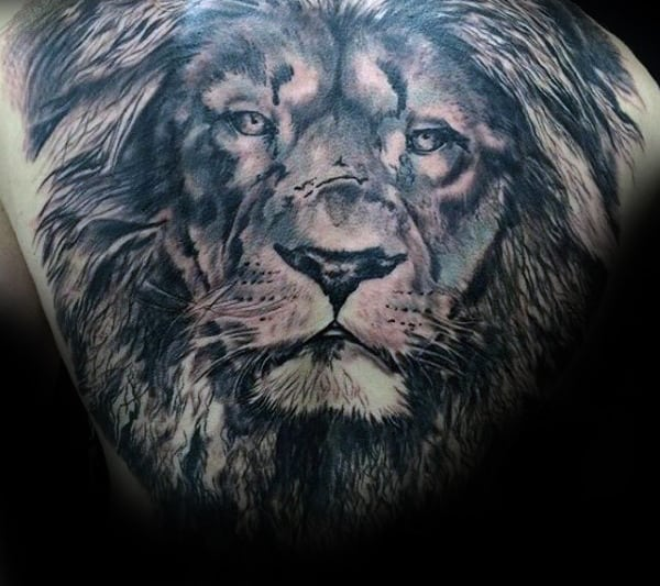 Awesome Male Lion Tattoo Design On Back