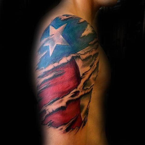 Awesome Male Texas Flag Half Sleeve Ripped Skin Tattoo Design