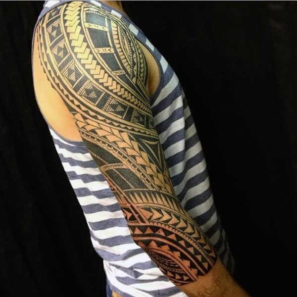 90 tribal sleeve tattoos for men manly arm design ideas for Male sleeve tattoo ideas