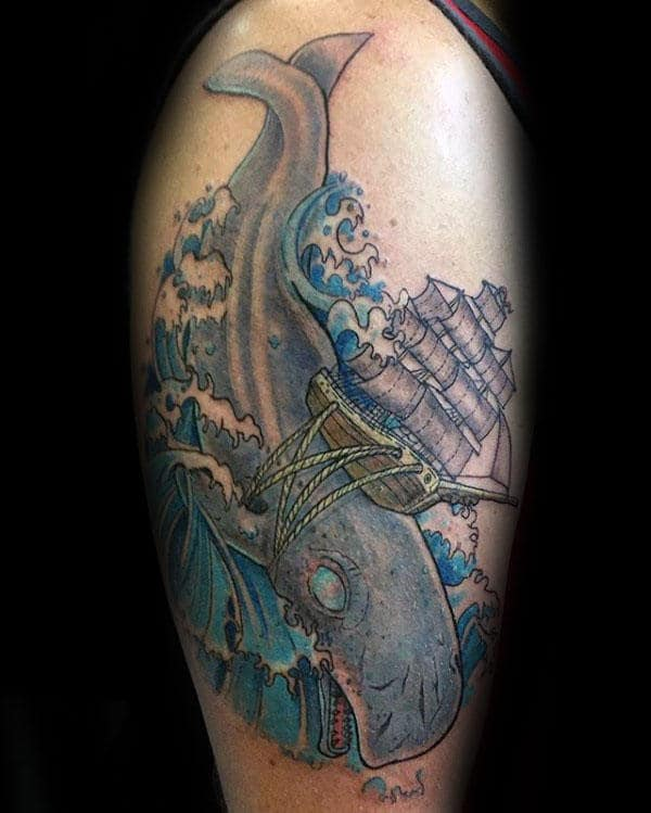 Awesome Male Whale Arm Tattoo With Sailing Ship And Rope Design