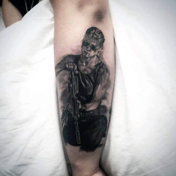 Awesome Manly Terminator Outer Forearm Shaded Tattoos For Gentlemen