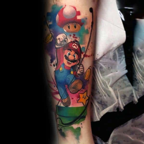 Awesome Mario Tattoos For Men