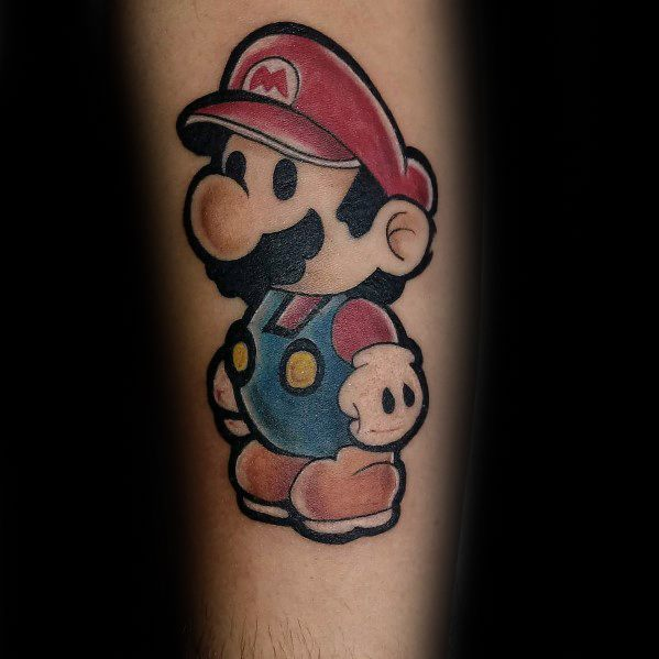 Awesome Mario Video Game Tattoos For Men