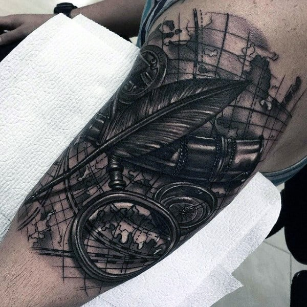 Awesome Masculine Modern Mens Nautical Themed Half Sleeve Tattoo
