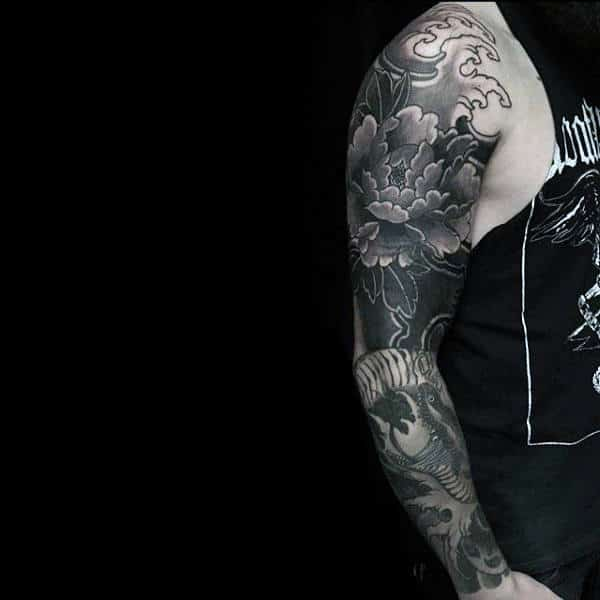 Awesome Masculine Peony Mens Shaded Black And Grey Full Sleeve Tattoos