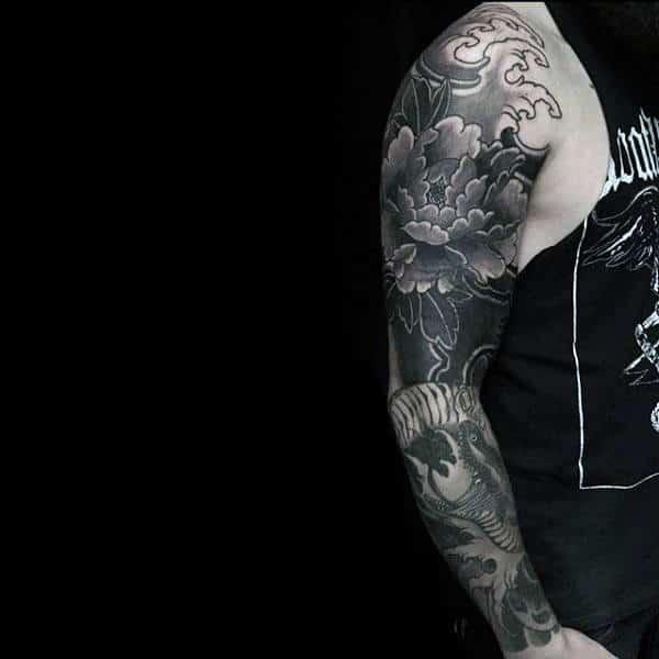 9e3038b30 Awesome Masculine Peony Mens Shaded Black And Grey Full Sleeve Tattoos