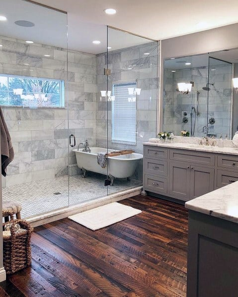Awesome Master Bathroom Ideas With Hardwood Flooring
