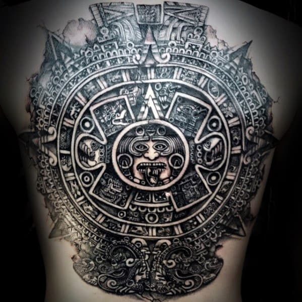 Awesome Mayan Calender Full Back Tattoos For Men