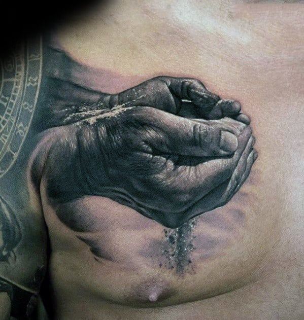 Awesome Mens 3d Hands Holding Falling Sand Chest Tattoo