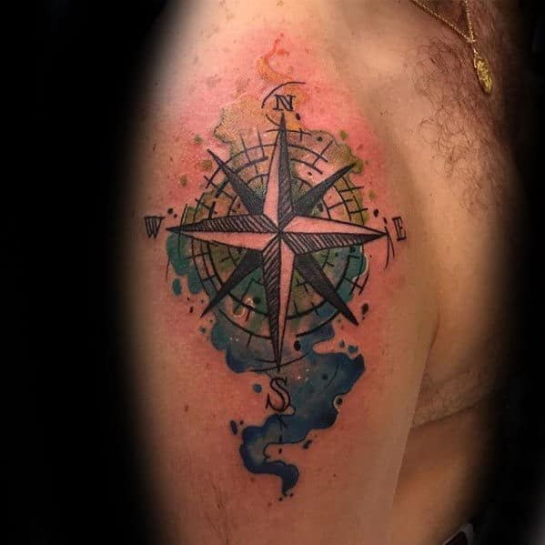 Awesome Mens Arm Watercolor Compass Tattoo Ideas